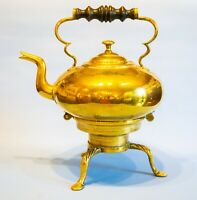 1800 Brass Toddy Kettle on Stand Lock Antique English Georgian Globular