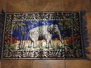 VINTAGE ELEPHANT DESIGN FRINGED FINELY WOVEN BLUE VELVET WALL TAPESTRY