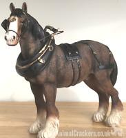 Large Shire Cart Heavy Horse in harness ornament figurine Leonardo, gift boxed