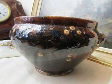 ancien cache pot en poterie vernissée decor floral savoie savoyard