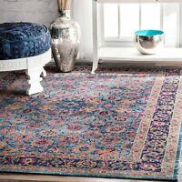 nuLOOM Traditional Vintage Cotton Blend Floral Area Rug in Purple Blue Orange