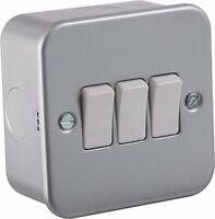 2x Knightsbridge Metal Clad Metalclad 10 Amp 3 Gang 2 Way Triple Light Switch