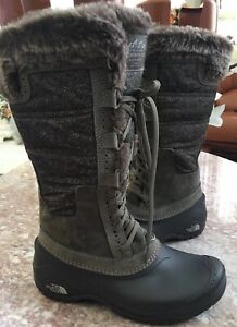 The North Face Green Mid Calf Lace Up Winter Snow Boots Womens 5.5M EUC