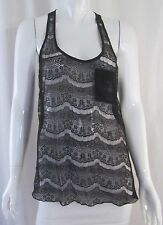 Gothic Glam Witchy IRIS Black Eyelash Lace Racerback Sheer Tank Top Blouse Small