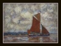 "Norfolk Barge  Original Impressionist Oil Painting : David Baxter 12"" X 8.25"""