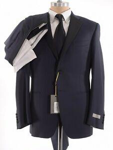 Canali NWT Tuxedo Size 40R In Geometric Midnight Blue Wool W/ Black Satin Lapel