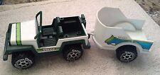 "Vintage 1980 TORCO 8.5"" Toy Jeep & Horse Trailer/Model P-116/Steel & Plastic"
