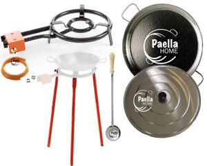 60cm Original Paella Pan Set + 40cm Gas Burner + Lid + Stainless Steel Spoon
