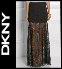 $395 DKNY Black Sheer Lace A-Line Maxi Full-Length Formal Dress Skirt ~10 M3020