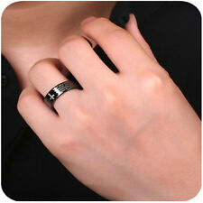 Classical Men Jewelry Christian Cross Bible Ring Titanium Steel Ring Sz 17-21mm