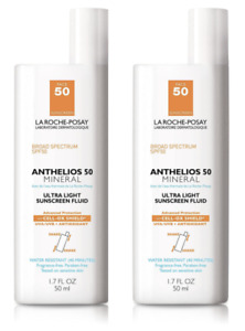 2 Pack La Roche Posay Anthelios 50 Mineral Ultra Light Sunscreen Fluid 1.7 oz