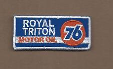 NEW 1 1/2 X 3 1/4 INCH ROYAL TRITON MOTOR OIL IRON ON PATCH FREE SHIPPING