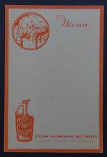MENU DOLFI Curacao ornange liqueur liquor vierge French card restaurant vintage