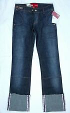 Ecko Red Womens Juniors Blue Jeans Stretch Denim Cuffed Low Rise Mid Wash 7 NWT