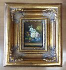 Miniature oil painting flowers in vase floral bouquet in beautiful heavy frame