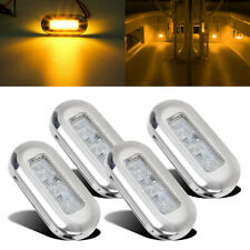 "4pcs 3"" Amber Marine Boat LED Oblong Courtesy Lights Stair Deck Garden Lighting"