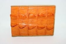 Genuine Crocodile Alligator Skin Leather Men's Bifold Wallet Orange