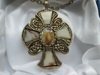Vintage Miracle Britain Gold Tone Marbled Glass Celtic Cross Pendant Necklace
