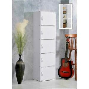 5-Shelf, 59 in. White Wooden Bookcase with Cubbies and Doors by HODEDAH