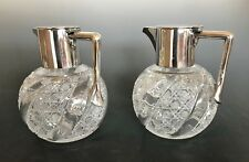Edwardian Silver Plate Mounted Glass Claret Pitchers Set of 2 Grinsell & Sons