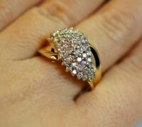 Vintage Diamond 1.5 Ct Cluster Ring 14k Yellow Gold Finish Sterling For Women's