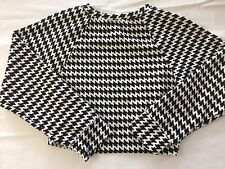 Large American Apparel Bare Midriff Black and White Geometric Shirt Long Sleeve