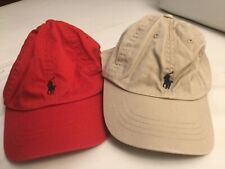 POLO RALPH LAUREN BOYS  BASEBALL HAT CAP RED KHAKI PONY Size 4-7