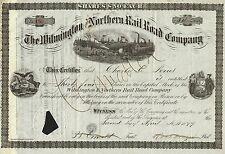USA WILMINGTON & NORTHERN RAILROAD COMPANY stock certificate 1877