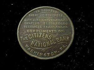 Washington, PA Citizen's National Bank, early Pennsylvania swastika token