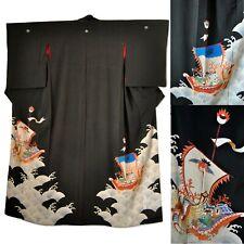 1920s Japanese Silk Kimono with Ho-O Bird Phoenix Dragon Treasure Boats Antique