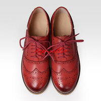 Retro Womens Leather Flat Brogues Flat Oxfords Wingtip Lace Up Carved Shoes New