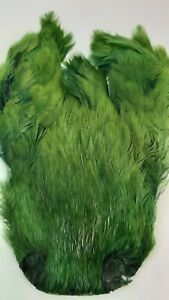 """LG INDIA CAPE    """" Hen Neck Cape """"    OLIVE      Fly Tying Wet Flies"""