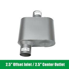 25 Offset Inlet 25 Center Outlet Aluminized Steel Chambered Race Muffler