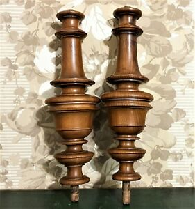 Pair spindle baluster wood turned column Antique french architectural salvage