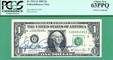 AUTOGRAPHED 1981 $1 Federal Reserve Note - PCGS CU 63 with PPQ - Fr 1911-G