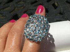 Colleen Lopez Sterling Silver 10.42 ctw Blue Zircon & White Topaz Ring