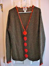 Alpaca PERU Long Sweater Cardigan Hallet San Fran Green Black Chevron Crochet  L