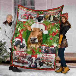 Cow Christmas Blanket – Let It Snow Wonderful Time Cow- Fleece, Quilt Blanket