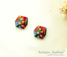 4PCS Mini Cute Rubix Cube Resin Charm Perfect For Stud Earring Rings YED011V
