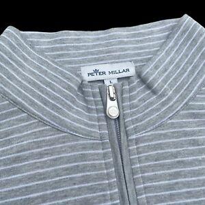 Peter Millar Crown Comfort Interlock Gray Striped Quarter Zip Sweater Large $140