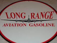"""VINTAGE LONG RANGE AVIATION GASOLINE + AIRPLANE 11 3/4"""" PORCELAIN METAL OIL SIGN"""