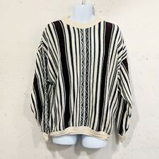 Vintage 90s Van Heusen Striped Cotton Sweater Biggie Chunky Boho Ugly Winter XL