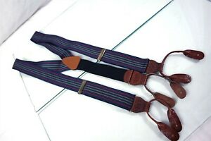 USA Blue Red Gold Stripe Mens Luxury Leather Fitting Adjustable Suspenders