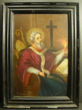 Saint Augustin d'Hippone Huile sur toile XIX 41cm la Cité de Dieu St. Augustine