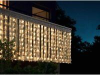 LED Balkonvorhang 2m x 1m Lichterkette Weihnachten Weihnachtsschmuck warmweiß