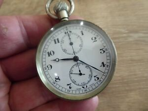 CHRONOGRAPH CENTRE SWEEP NICKEL POCKET WATCH. WORKING
