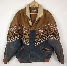 Vintage Retro Azteca de cuero urbano tribal Navajo Festival Chaqueta de Abrigo de gran tamaño