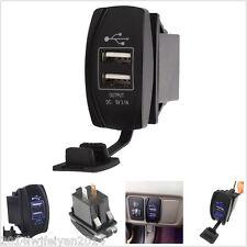 Car Boat Dual USB Charger Socket Power Carling ARB Rocker Switch Blue LED 12-24V