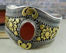 Bohemian Sterling Silver & Carnelian Wide Cuff Bracelet