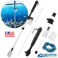 Electric Aquarium Cleaner Syphon Fish Tank Pump Vacuum Gravel Water Filter USA